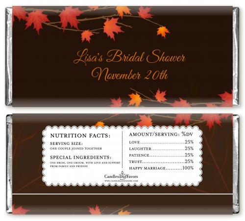 autumn leaves personalized bridal shower candy bar wrappers