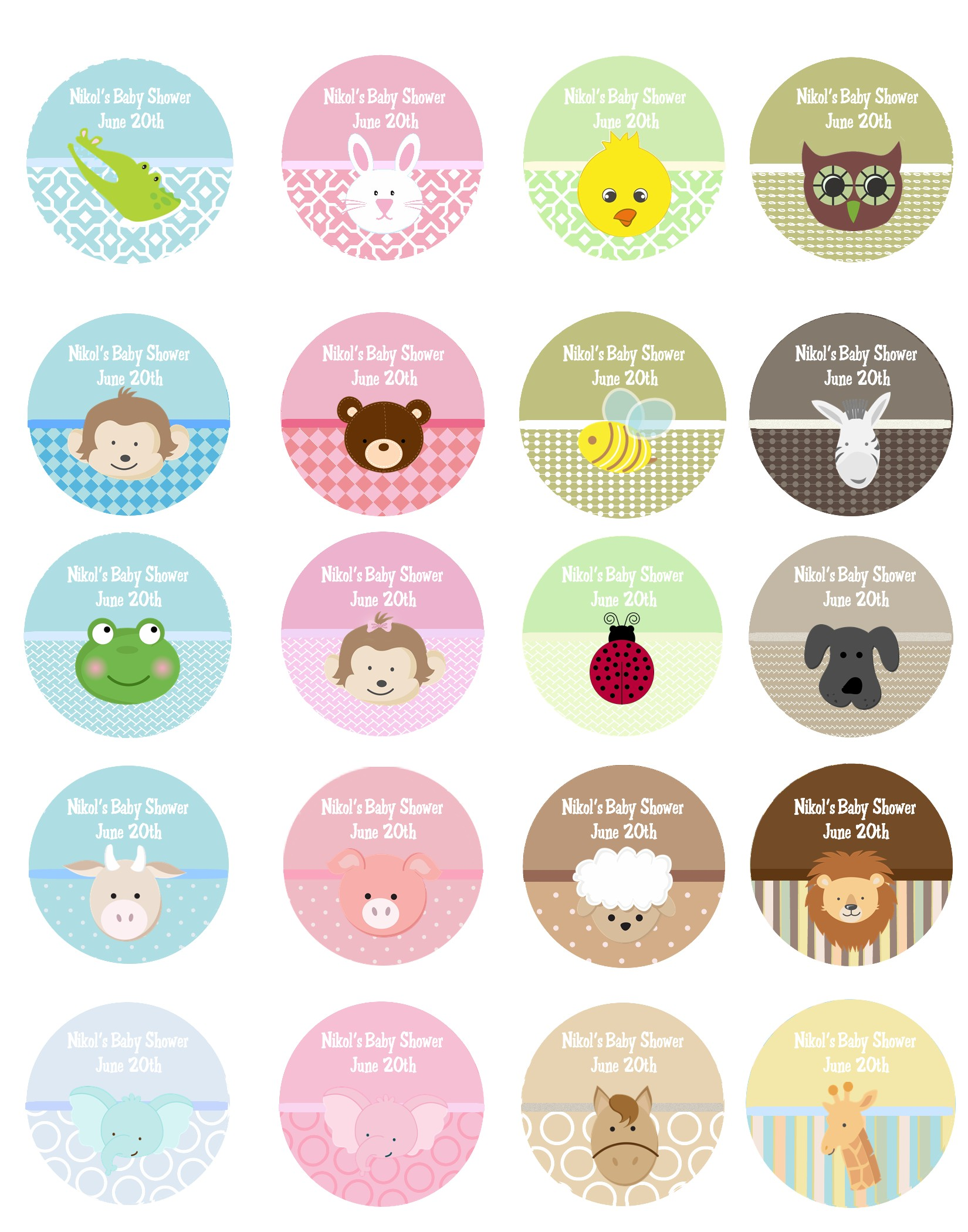 graphic regarding Printable Sticker Labels known as Child Pets - Spherical Custom made Boy or girl Shower Sticker Labels