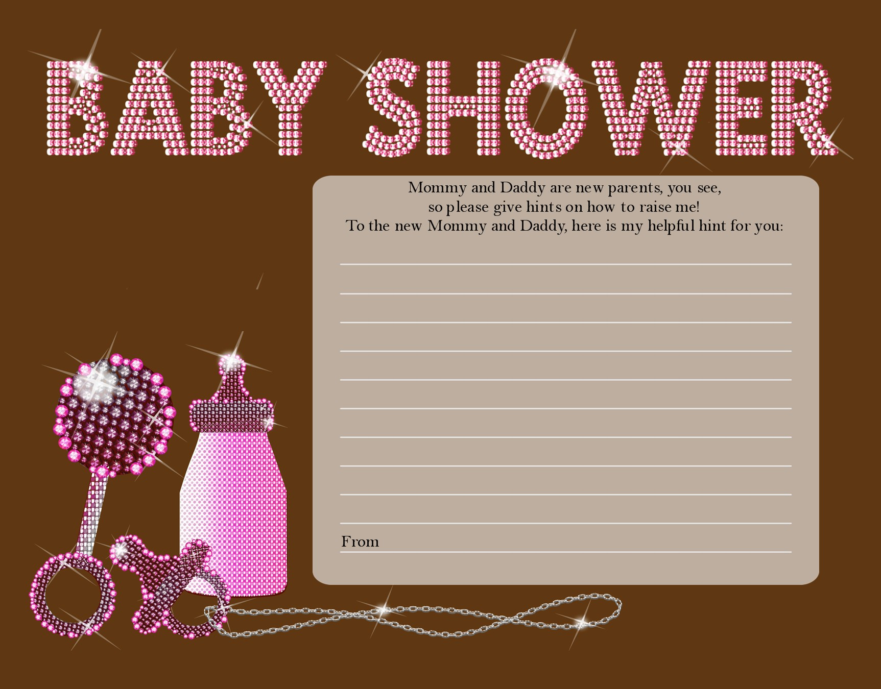 baby bling pink baby shower notes of advice