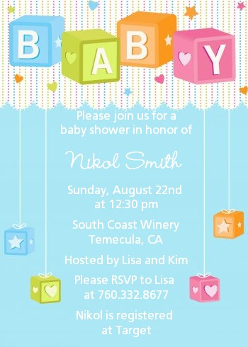 Baby Blocks Blue Baby Shower Invitations Candles And Favors