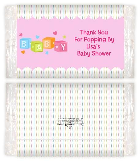 Baby Blocks Pink Baby Shower Popcorn Wrappers Baby Shower Popcorn