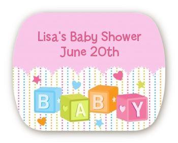 Baby Blocks Pink - Personalized Baby Shower Rounded Corner Stickers