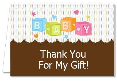 Baby Blocks - Baby Shower Thank You Cards