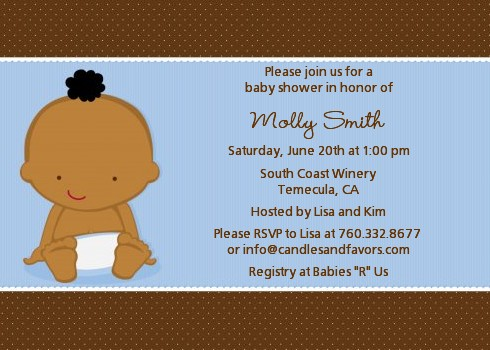 Baby Boy African American Baby Shower Invitations Candles and Favors