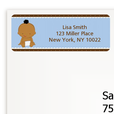 Baby Boy African American - Baby Shower Return Address Labels