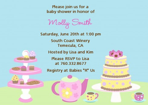 Tea party baby shower invitations invites for tea party baby shower baby brewing tea party baby shower invitations stopboris Choice Image