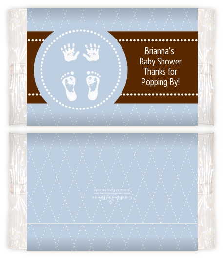Baby Feet Pitter Patter Blue Baby Shower Popcorn Wrappers Baby