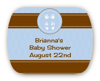 Baby Feet Pitter Patter Blue - Personalized Baby Shower Rounded Corner Stickers