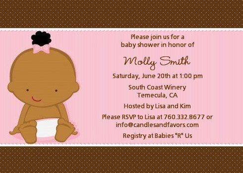 Baby Girl African American Baby Shower Invitations Candles and Favors