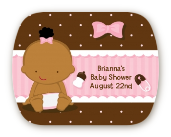 Baby Girl African American - Personalized Baby Shower Rounded Corner Stickers