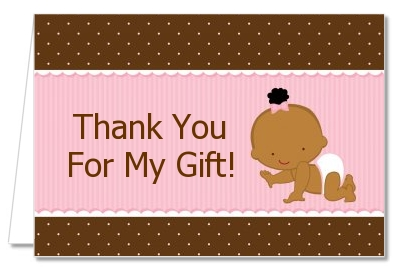 baby girl african american baby shower thank you cards