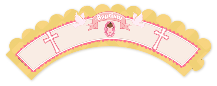 Baby Girl - Baptism / Christening Cupcake Wrappers Option 1