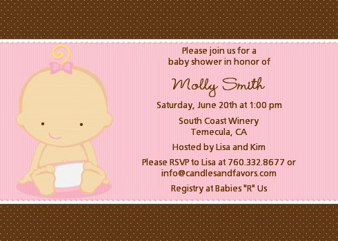 baby girl caucasian baby shower invitations candles and favors