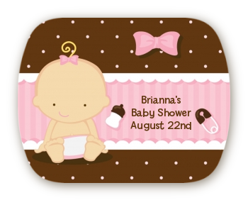 Baby Girl Caucasian - Personalized Baby Shower Rounded Corner Stickers