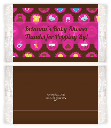 Baby Icons Pink Baby Shower Popcorn Wrappers Baby Shower Popcorn