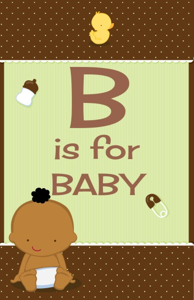 Baby Neutral African American - Personalized Baby Shower Nursery Wall Art