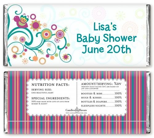 baby sprinkle baby shower candy bar wrappers candles favors