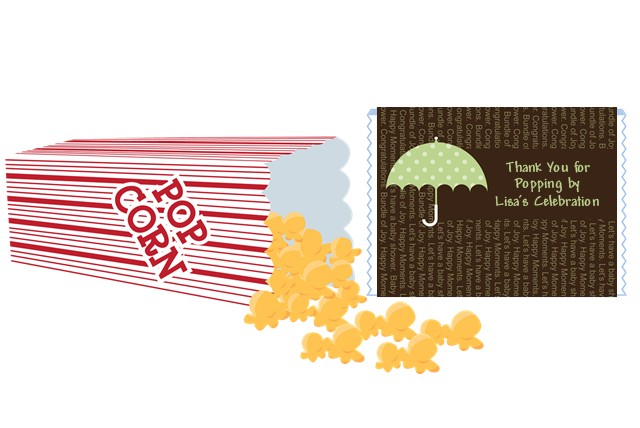 Baby Sprinkle Umbrella Green Baby Shower Popcorn Wrappers Baby