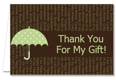 Baby Sprinkle Umbrella Green - Baby Shower Thank You Cards