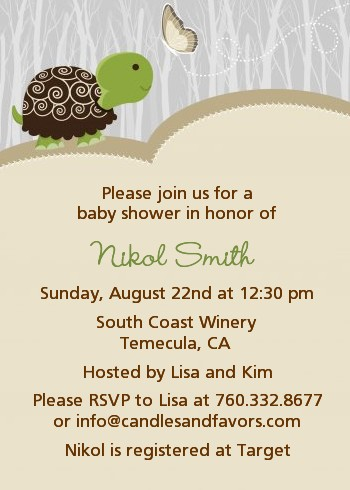 Baby Turtle Neutral Baby Shower Invitations Candles and Favors