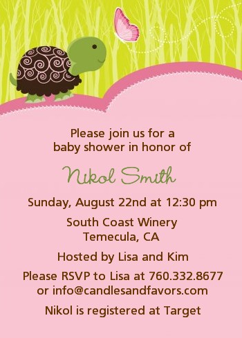 baby turtle pink baby shower invitations