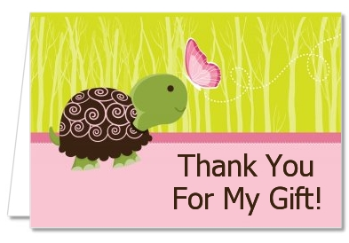Baby shower thank you cards baby turtle pink thank you notes baby turtle pink baby shower thank you cards negle Images