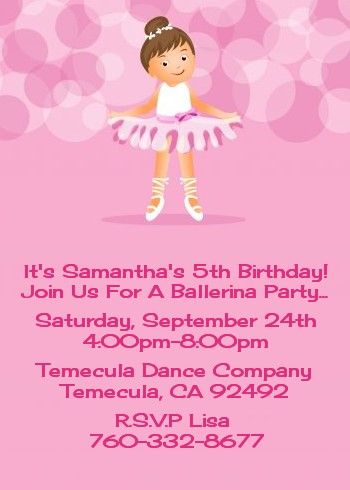 ballet dancer birthday party invitations  candles and favors, Birthday invitations