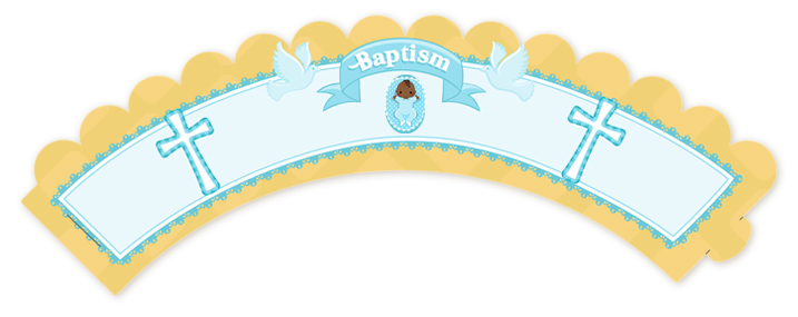Baby Boy - Baptism / Christening Cupcake Wrappers Option 1