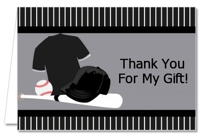 Baseball Jersey Black and White - Birthday Party Thank You Cards