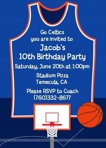 basketball jersey blue and orange birthday party invitations, party invitations
