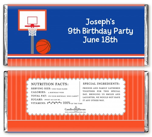 basketball jersey blue and orange birthday party candy bar