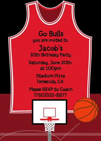 Basketball Jersey Red and Black Birthday Party Invitations ...