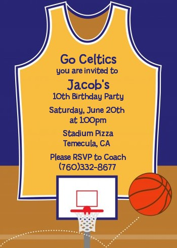 basketball purple and yellow birthday party invitations  candles, party invitations