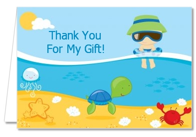 Beach Baby Asian Boy - Baby Shower Thank You Cards