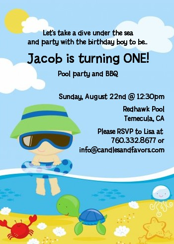 Beach Boy Birthday Party Invitations