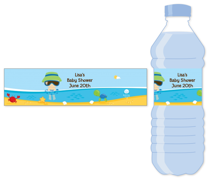 Beach Baby Boy Personalized Baby Shower Water Bottle Labels