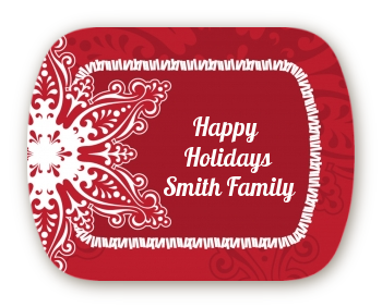 Big Red Snowflake - Personalized Christmas Rounded Corner Stickers