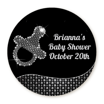 Baby Bling Pacifier - Round Personalized Baby Shower Sticker Labels