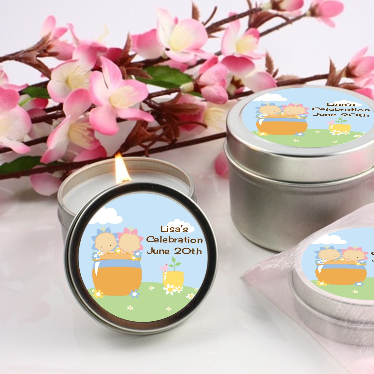 blooming baby twins caucasian baby shower candle favors
