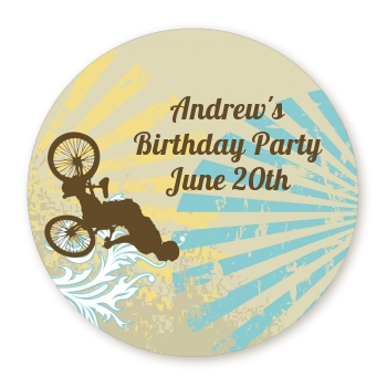 BMX Rider - Round Personalized Birthday Party Sticker Labels