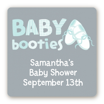 Booties Blue - Square Personalized Baby Shower Sticker Labels