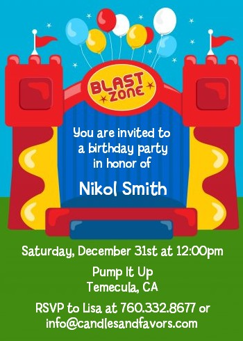 bounce house birthday party invitations  candles and favors, Birthday invitations