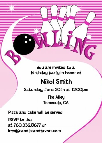 Bowling Girl - Birthday Party Invitations