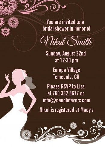 Bridal Silhouette Floral Pink - Bridal Shower Invitations