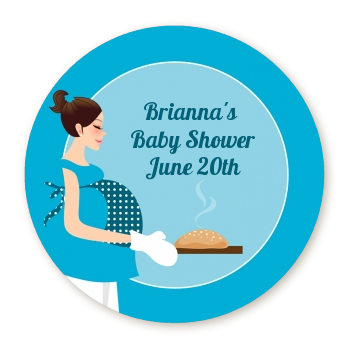 Bun in the Oven Boy - Round Personalized Baby Shower Sticker Labels