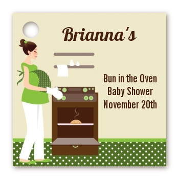 bun in the oven neutral personalized baby shower card stock favor