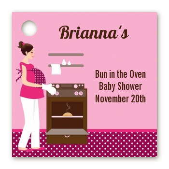 Bun in the Oven Girl - Personalized Baby Shower Card Stock Favor Tags