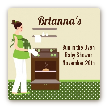 Bun in the Oven Neutral - Square Personalized Baby Shower Sticker Labels