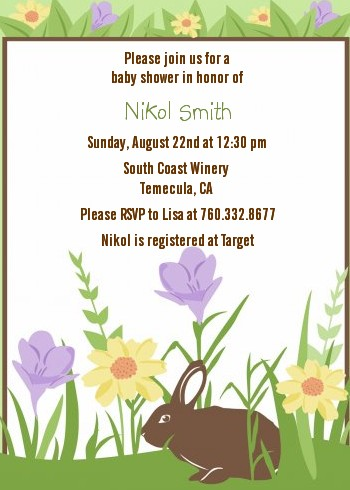 Bunny Baby Shower Invitations Candles And Favors