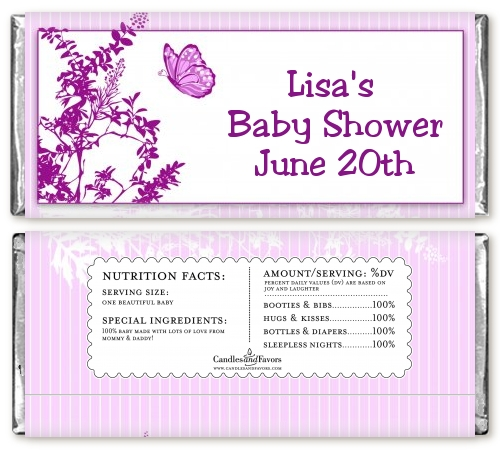 butterfly baby shower candy bar wrappers candles favors